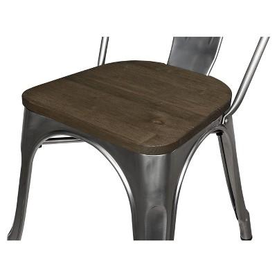 Set Of 2 Fiora Metal Dining Chair With Wood Seat Gun Metal - Room & Joy : Target