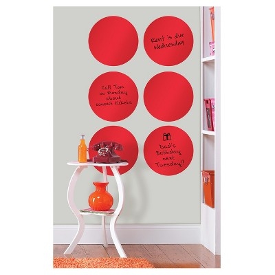 """Wall Pops!  Dry Erase Board Circle Decals 13"""" 6ct - Red"""
