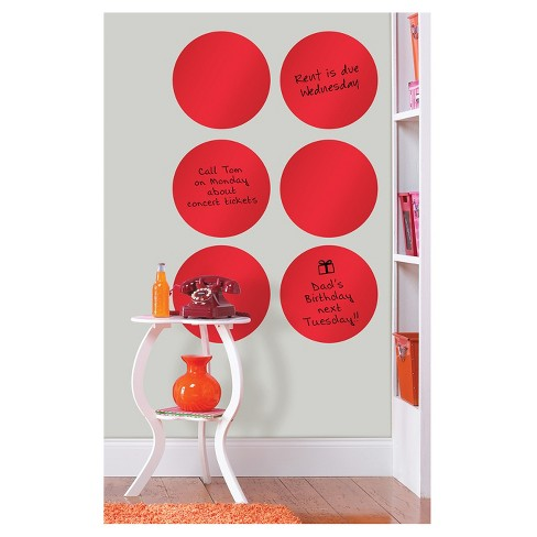 """Wall Pops!  Dry Erase Board Circle Decals 13"""" 6ct - Red - image 1 of 3"""