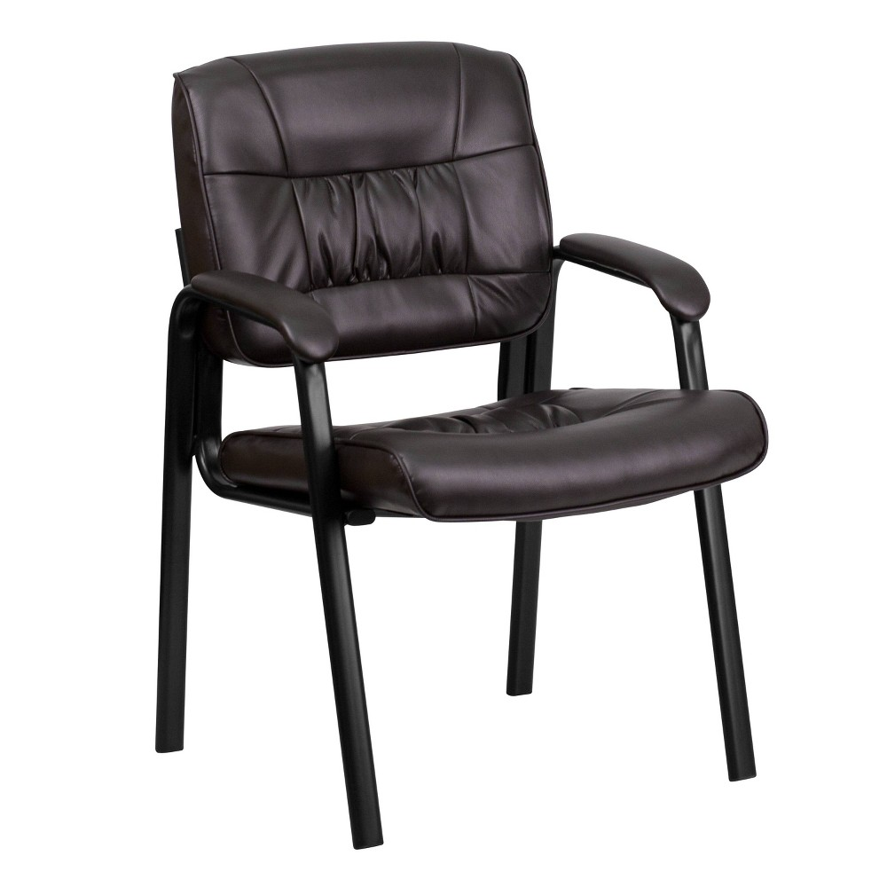 Executive Side Chair Black Frame/Brown Leather - Flash Furniture