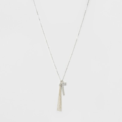 Caged Cubic Zirconia, A Smooth Bar & A Tassel Three Pendant Long Necklace - A New Day™ Silver