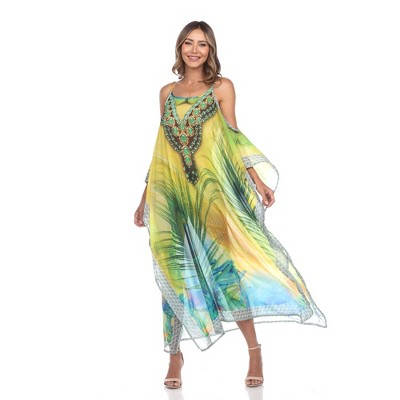 Sheer Caftan Maxi Dress - One Size Fits Most - White Mark
