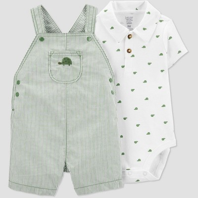 Baby Boys' 2pc Turtle Shortall Set - Just One You® made by carter's Green Newborn