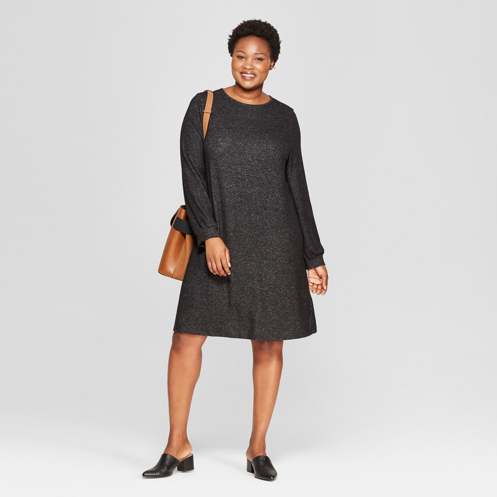 Women's Plus Size Crew Neck Knit Dress - Ava & Viv Dark Heather Gray 4X