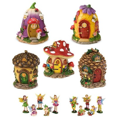HearthSong Fairy Village Set with Five Decorative Resin Houses and 10 Nature-Themed Fairies