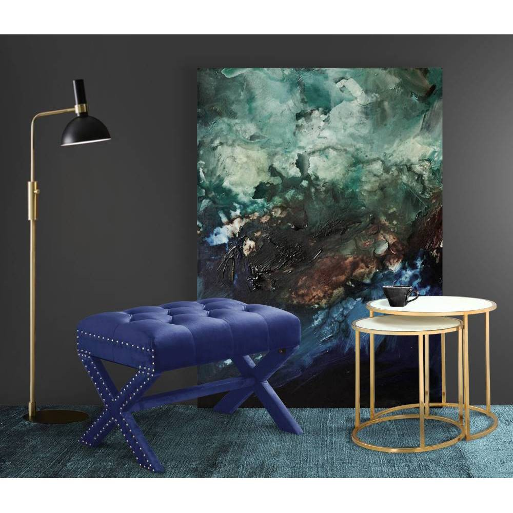 Mia Ottoman Navy - Chic Home Design was $179.99 now $107.99 (40.0% off)