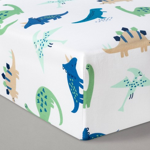 Fitted Crib Sheet Dinos Cool - Cloud Island™ Blue/Green - image 1 of 2