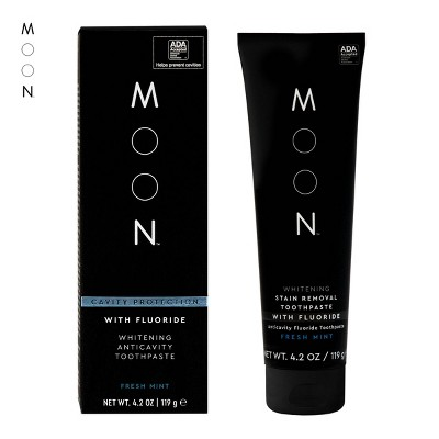 Moon Anti-cavity with Fluoride Whitening Fresh Mint Toothpaste Vegan Paraben + SLS Free Fresh Mint - 4.2oz