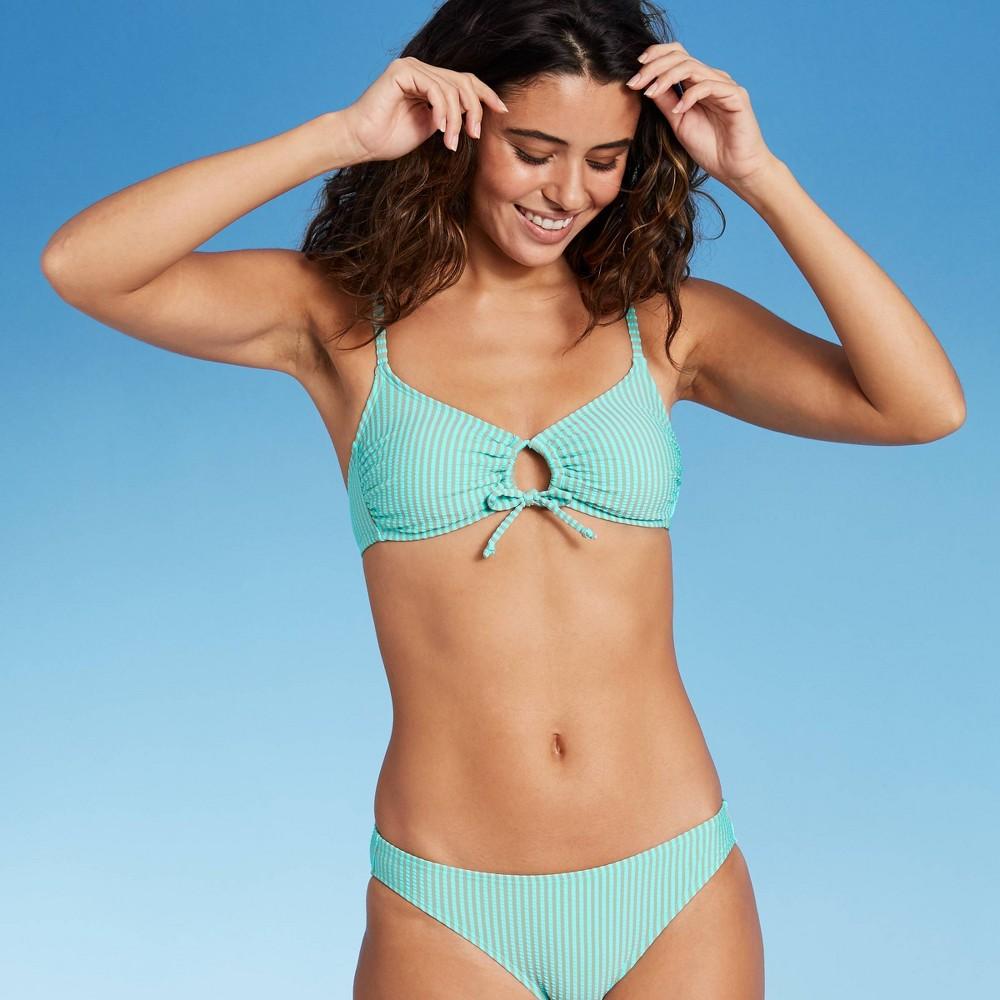 Juniors 39 Seersucker Front Loop Bralette Bikini Top Xhilaration 8482 Multi Stripe L