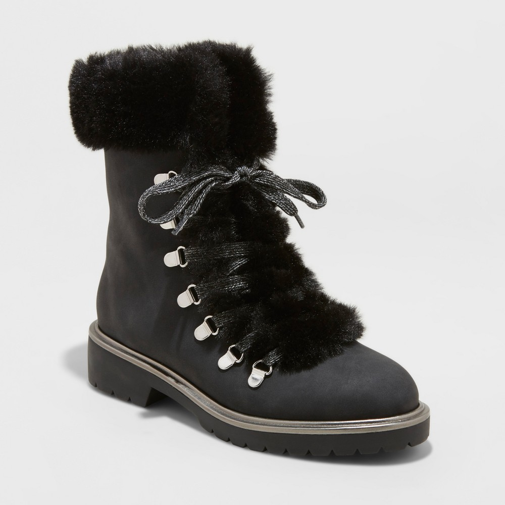Women's Neveah Faux Fur Lace Up Boots - A New Day Black 9.5