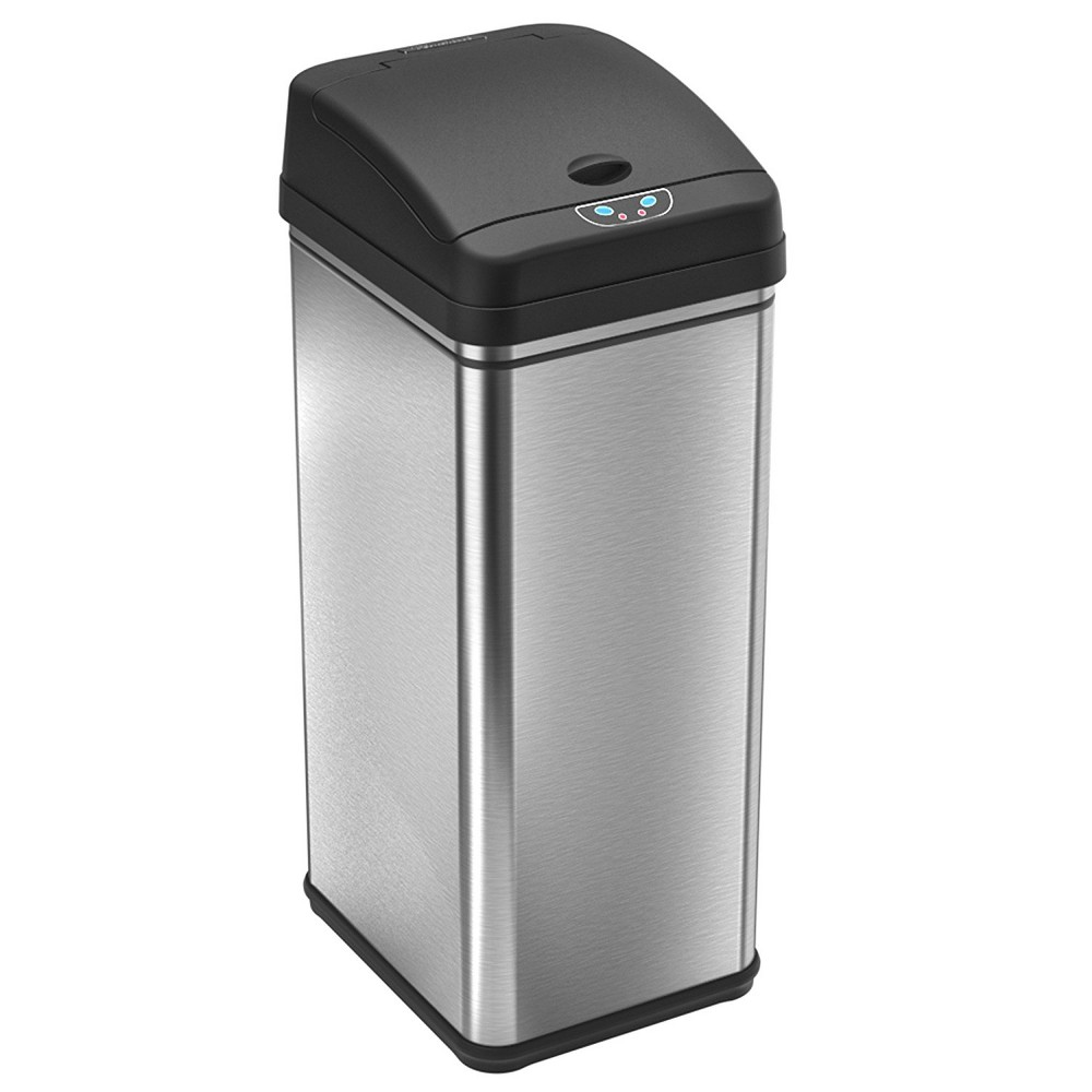 Image of Touchless 13 Gallon Stainless Steel (Silver) Automatic Touchless Trash Can with Carbon Filter Deodorizer