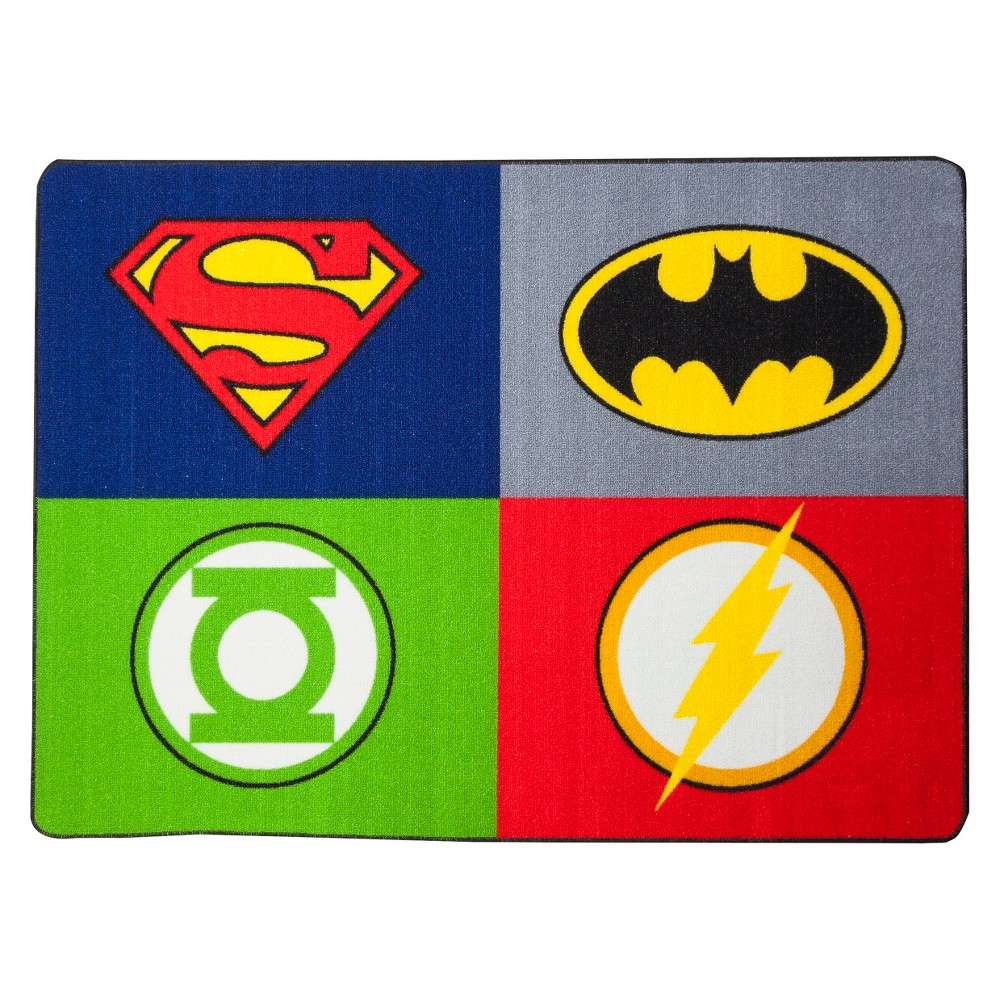 "Image of ""3'4"""" x 4'6"""" Justice League Rug, Multi-Colored"""