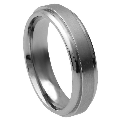 Men's Daxx Titanium Stepped Edge Brushed Center Band (6mm) - image 1 of 4