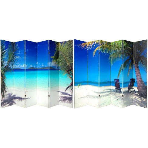 6' Tall Double Sided Beach Canvas Room Divider 6 Panel - Oriental Furniture - image 1 of 3