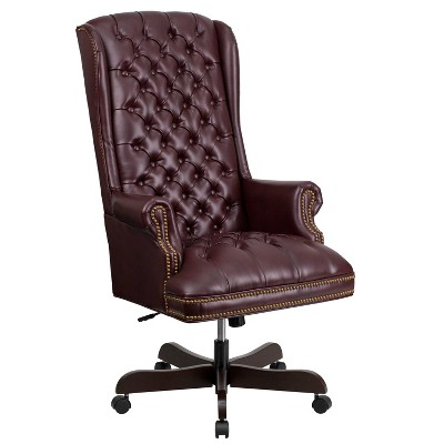 executive swivel office chair burgundy leather flash furniture rh target com