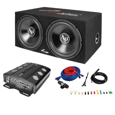 Audiopipe APSB-1299PP Dual 12 Inch Car Audio Subwoofer Speakers and Sealed Enclosure, 2 Channel 500 Watt Amplifier, and Wire Installation Kit
