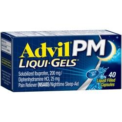 Advil PM Liqui-Gels Pain Reliever/Nighttime Sleep Aid Liquid Filled Capsules - Ibuprofen (NSAID) - 40ct
