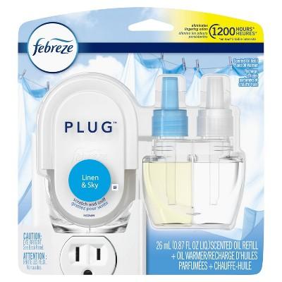 Febreze Plug Odor-Eliminating Scented Oil Refill and Oil Warmer - Linen & Sky - 1ct