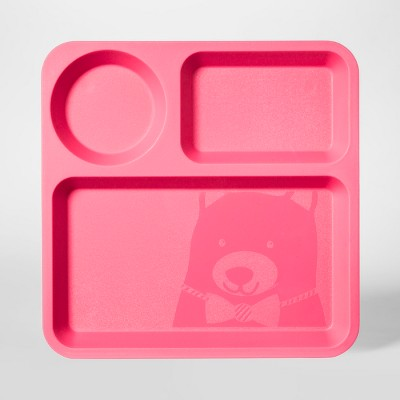 10  Plastic Kids Square Divided Plate Pink - Pillowfort™
