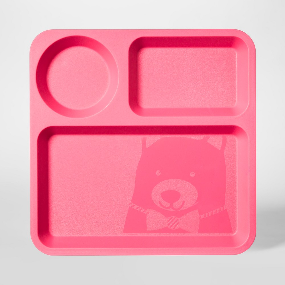 "Image of ""10"""" Plastic Kids Square Divided Plate Pink - Pillowfort"""