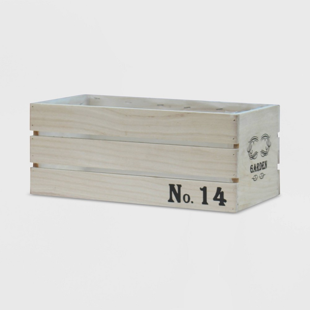 "Image of ""10"""" Rectangular Distressed Wood Crate Planter L - Gardenised"""