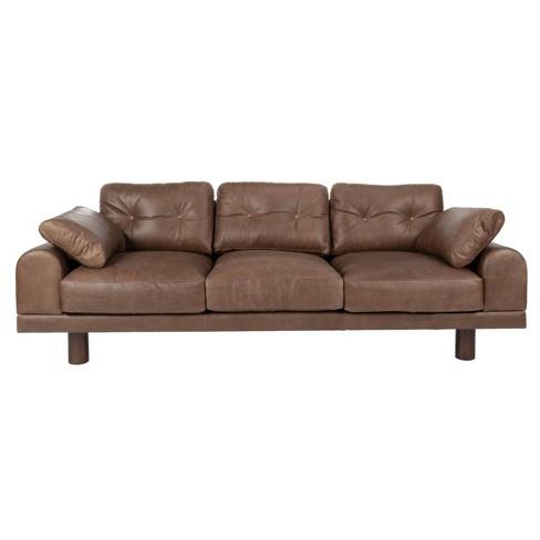 Scooter Italian Leather Sofa Mocha - Safavieh