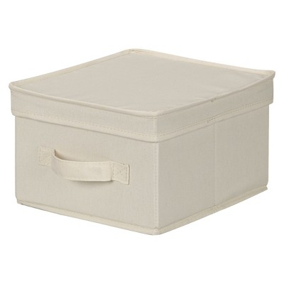 Household Essentials Canvas Cube Storage Box Natural Medium