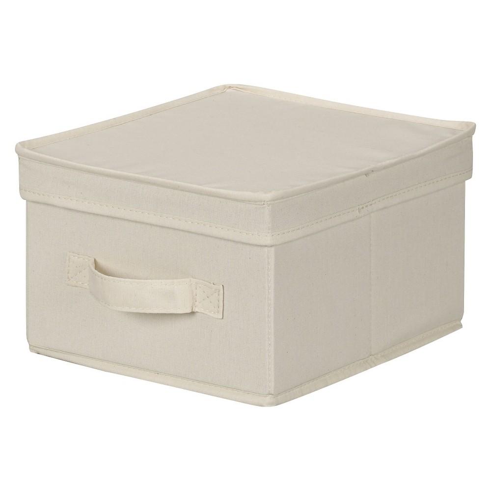 Household Essentials Canvas Cube Storage Box Natural Medium