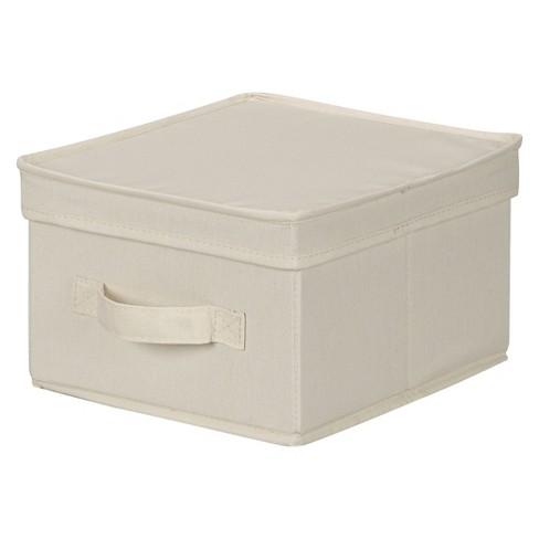 Household Essentials Canvas Cube Storage Box Natural Medium - image 1 of 4