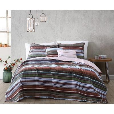 Haze Stripe 5pc Quilt Set - Geneva Home Fashion