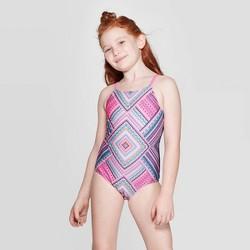 Girls' Tiki Trial One Piece Swimsuit Set - art class™ Navy