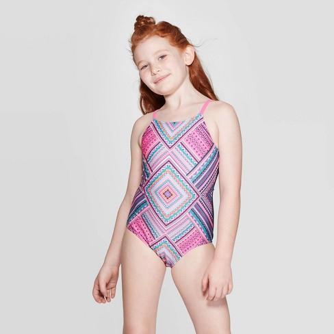 Girls' Tiki Trial One Piece Swimsuit Set - art class™ Navy - image 1 of 4