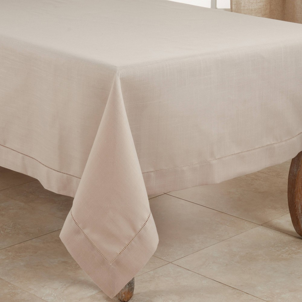 """72"""" Polyester Hemstitched Border Tablecloth Taupe Saro Lifestyle"""