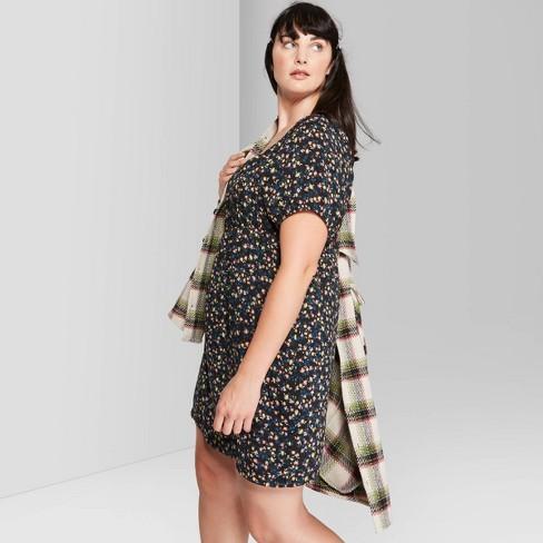 Women\'s Plus Size Floral Print Square Neck Mesh Maxi Dress - Wild Fable™  Black