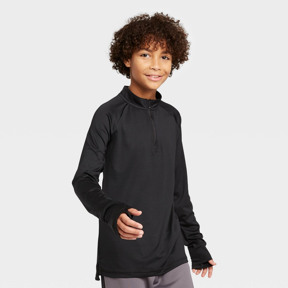 Image of Boys' Performance 1/4 Zip Pullover - All in Motion Black L, Boy's, Size: Large