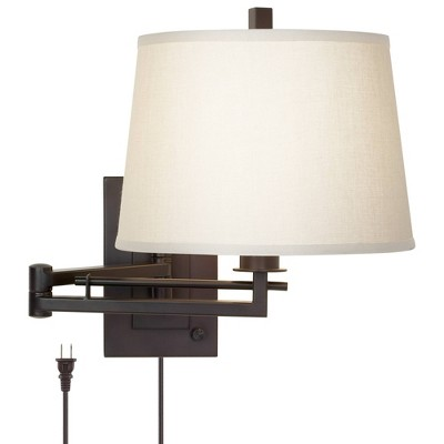 Franklin Iron Works Modern Swing Arm Wall Lamp Matte Bronze Plug-In Light Fixture Fabric Drum Shade Bedroom Bedside Living Room