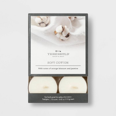 12pk Tealight Cotton Candles - Threshold™