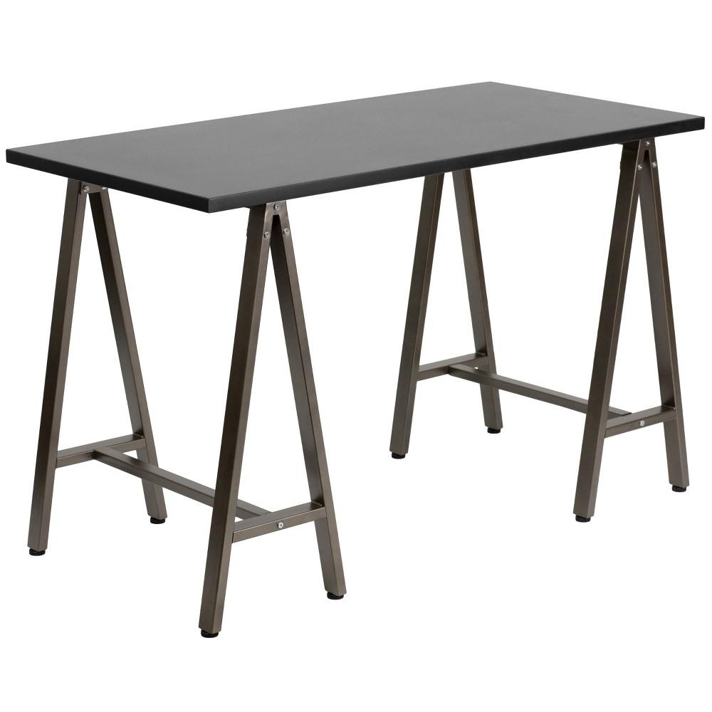 Image of Black Computer Desk with Brown Frame - Flash Furniture