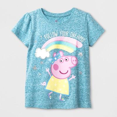 Toddler Girls' Peppa Pig Short Sleeve Graphic T-Shirt - Blue 2T