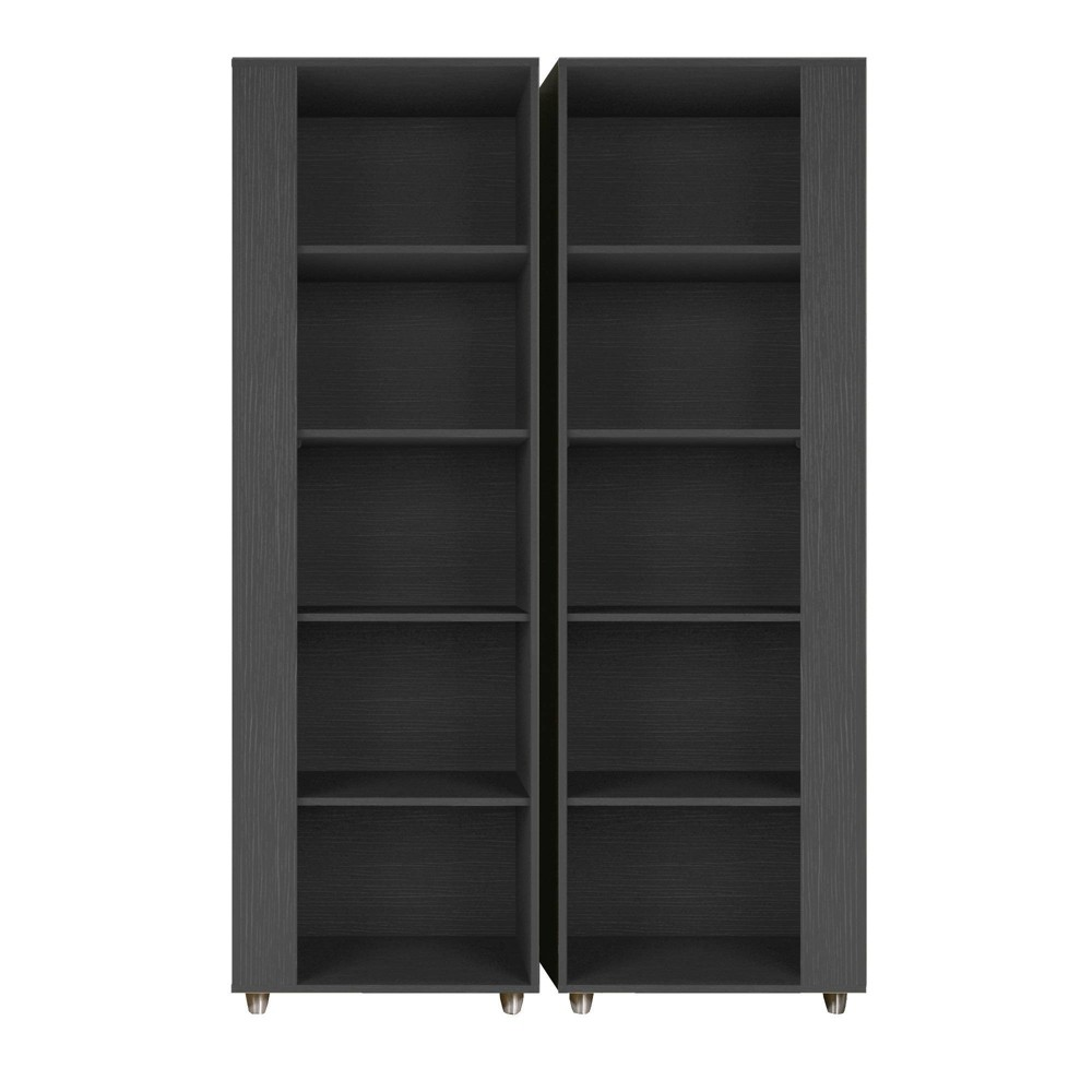 74 02 34 Set Of 2 Cypress Bookshelf Black Manhattan Comfort