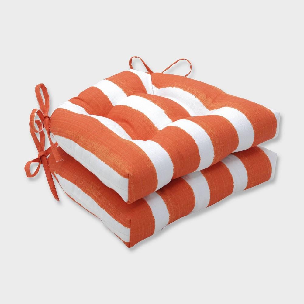 2pk Nico Marmalade Reversible Chair Pads Orange - Pillow Perfect