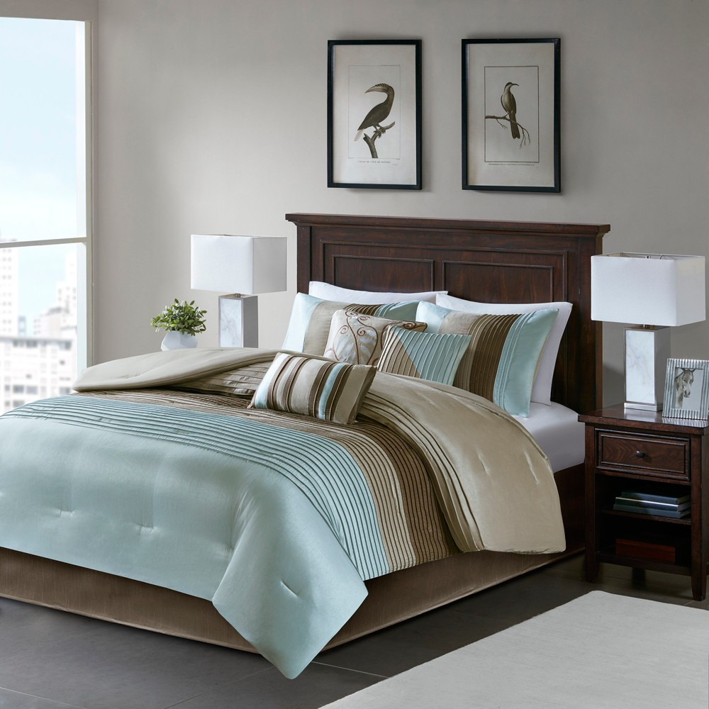 Salem 7 Piece Comforter Set (Pieced Dupioni with filled piping details)- Blue (Queen)