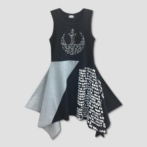 f6af07144073 Girls  Star Wars Rebel Logo Skater Dress - Black Gray   Target