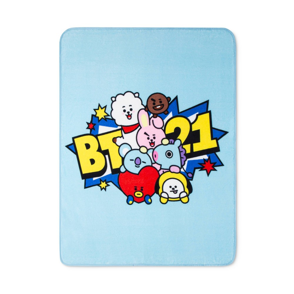 "Image of ""46""""x60"""" Line Friends BT21 Throw Blue"""