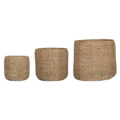 3pc Decorative Round Seagrass Basket Set Natural - 3R Studios