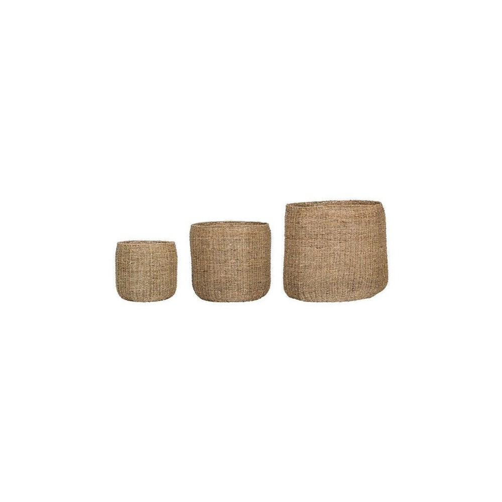 Image of 3pc Decorative Round Seagrass Basket Set Natural - 3R Studios, White