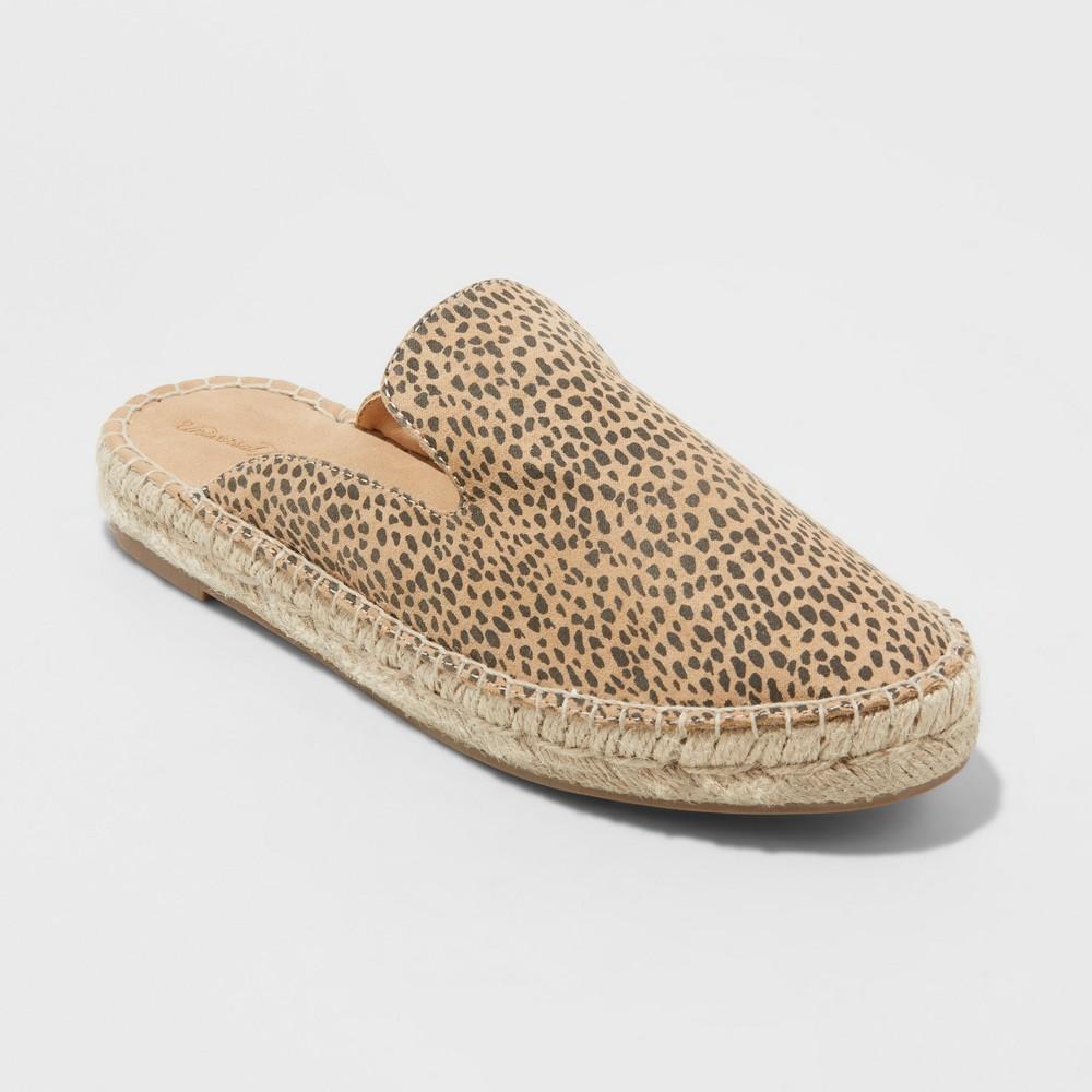 Women's Clara Leopard Espadrille Flat Mules - Universal Thread Brown 7.5