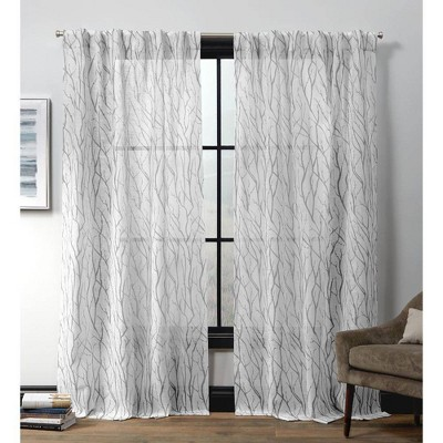 Oakdale Motif Textured Linen Hidden Tab Top Sheer Curtain Panel Pair - Exclusive Home