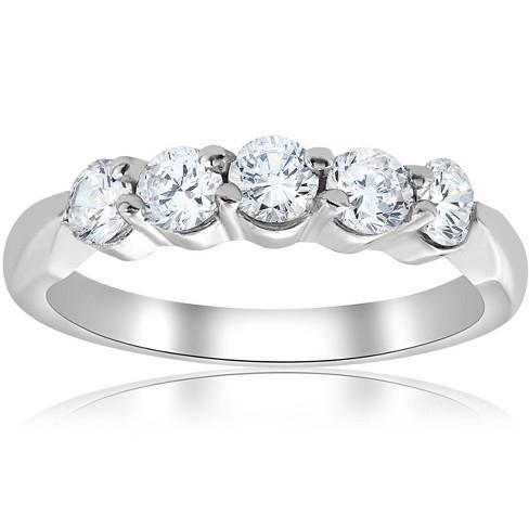 Pompeii3 1/2ct Round Diamond Wedding Ring 14K White Gold Five Stone - image 1 of 4