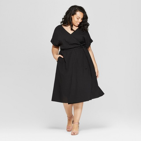 Women\'s Plus Size Short Sleeve V-Neck Midi Dress - Universal Thread ...